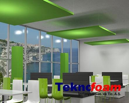 Akustik Yüzer Tavan Paneli Cafe Ses Yalıtımı